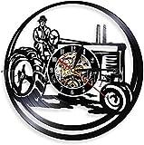 zgfeng Farmer Lichter auf Traktor Farm Traktor Persönliche Wanduhr Retro Vinyl Singuhr Uhr Dekorative Uhr Ernte-Ohne LED
