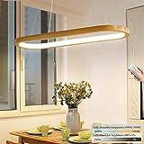 Hängelampe LED Dimmbar Holz Esszimmerlampe, Ring Hängeleuchte L90cm Esstisch Holzlampe, Modern Design Esstischlampe, höhenverstellbar Wohnzimmer Flur Küche Arbeitszimmer Schlafzimmer 41W