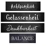Logbuch-Verlag Wandbilder Geschenk Set Achtsamkeit + Gelassenheit + Dankbarkeit + Balance - Wort Bilder Sprüche Deko Geschenkset