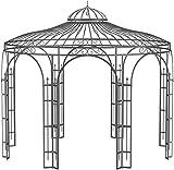 ELEO Florenz wunderschöner Gartenpavillon Winterfest I Stabiler Rundpavillon Weiß Ø 3,7 m I Romantischer Rosenpavillon aus Schmiedeeisen I Pavillon für G
