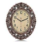 Lafocuse Europäische Retro Bronze Farbe Groß Oval Wanduhr Ausgefallene Florales Design Lautlos Deko Quarzuhr für Wohnzimmer Schlafzimmer 46 * 37
