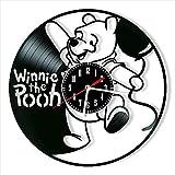 kkkjjj Wanduhr Vinyl Winnie The Pooh Rekorduhr Retro Wohnraumdekoration Design Uhr Wandbehang schwarzer Durchmesser Gürtelhak