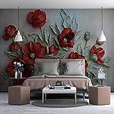Wandbilder Wohnzimmer Rote Mohnblume Moderne Tapete Fototapeten Wanddeko Tapeten Vliestapete Wandtapete Wandbild Wand Fernseher Sofa Hintergrund Tapete-250x175 Cm (WxH)