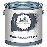 Lausitzer Farbwerke Metallschutzfarbe 3in1 traditioneller Metallschutzlack 3-in-1 Metallfarbe Metalllack Farbe für Metall, Stahl, Eisen, Zink und Aluminium (1 L, Anthrazitgrau (RAL 7016))