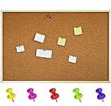 Creative Home 120 x 90 cm Große Pinnwand Kork-Wand (+/- 1 cm) | inkl. 5 Pinwandnadeln | Korktafel Holzrahmen Memoboard | Hergestellt in der EU | Ideal für Büro, Schule, Schlafzimmer und Heim
