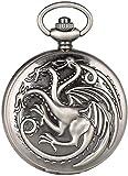N / A Taschenuhr, Retro-Design, Drachen-Design, Quarz, Taschenuhr, Familien-Wappen, Haus, Anhänger, Uhren, Halskette für Herren und Damen, Geschenk