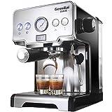 SXZSB Espressomaschine Mit Siebträger, 1450W Hohe Leistung Edelstahl Kaffeemaschine, 15 Bar Siebträgermaschine Für Espresso, Cappuccino Und Latte Machiato, (1.7L)