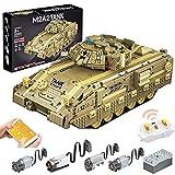 KEAYO Technik Panzer Bausteine mit Schussfunktion, Militär M2A2 Panzer Modellbausatz mit 1763 Teile, Fernbedienung und Motors, Kompatibel mit Lego Panzer