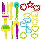 LOPADE Toolkit für Kinder Party Pack mit Tierformen Formen und Rollenzubehör für lufttrockenen Ton und Teig relaxing