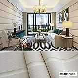 Moderne einfache breite Streifen Tapete verdickte Imitation Deerskin Wallpaper Schlafzimmer Wohnzimmer Tapete 3D (Color : 11C3001, Size : 3mx53cm)
