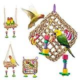 Birds Spielzeug, Natürlicher Nest Vogel Schaukel Vogelkäfig für Papageien, Kakadus, Aras, Amazonas, Afrikanische Graue, Wellensittiche, Nymphensitti