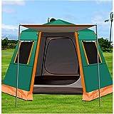 WDZJM Automatisches Zelt im Freien, Regenfest verdickter hexagonaler Aluminium-Pole, Doppelschicht-Camping, Multi-Persönliche Markise Pergola (Color : Green, Size : 4-6 People)