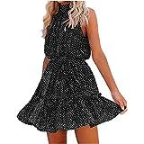 Dalaohu Sommerkleid für Damen, kurzes Kleid, bedruckt, Vintage, Boheme, Casual, Abendkleid, Strandkleid, Minikleid, Slim Sexy Sommerkleid, Cocktailkleid Gr. XXL , 06# Schwarz
