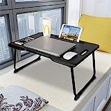 Astory Laptop Schreibtisch mit Griff, tragbare Laptop Bettablage Tisch Notebook Ständer Lesehalter mit faltbaren Beinen & Cup Slot zum Essen Frühstück, Lesebuch, Film auf Bett/Couch/Sofa (schwarz)