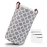CASEDO ® Wäschekorb aus Leinen (Grau) – Inklusive praktischer Wäschebeutel – [2] Moderne Designs – Faltbare Laundry Baskets