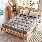 Nobuddy Futon Bodenmatratze,japanische Tatami Klappbare Matratze Atmungsaktiv Weiche Bis Mittlere Stoff Boden Schlafmatratze/B:Gray / 90 * 200CM