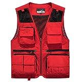 YDSH Herren Safari-Weste mit vielen praktischen Taschen, funktionale Arbeitsweste, Outdoor-Weste, Weste für Herren