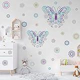 KAIRNE Schmetterling Wandtattoo, Blumen Wandaufkleber Kinder, Butterfly Stickers, Punkte Wandsticker Bunt, Kinderzimmer Wand Deko für Mädchen Schlafzimmer Flur Wohnzimmer