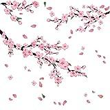 2 Stücke Pfirsichblüte Wandaufkleber Blume Baum Zweig Wandtattoo Romantische Rosa Blume Kunst Wandgemälde für Schlafzimmer Wohnzimmer Küche Dek