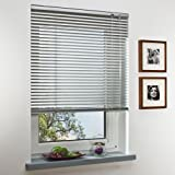 OBI Alu-Jalousie Burgos Aluminiumjalousie Jalousette Innenjalousie Fenstervorhang Aluminiumlamellen | Silber | 50 x 160