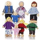 Puppenhaus Puppen mit 8 Figuren Puppenfamilie für Puppenhaus Biegepuppen mit beweglichen Gliedern Puppen für puppenhaus Holz Kinder Spielzeug Biegepüppchen für Puppenstube Holz Minipuppen