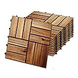 wolketon 30 x 30 cm Akazien-Holz Holzfliesen 11er Set für 1 m² Garten-Fliese Bodenbelag mit Drainage, Klick-Fliesen für Garten Terrasse Balkon (Model A, Größe: 11 Stück | 1m²)