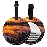 Kofferanhänger Koffer USA Missouri Kansas City Scenery of A Sunset Lake Nature Camping Themed Art Foto Leder Gepäckanhänger Paketetikett (ein Stück)
