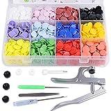 SUNTATOP 300 Set 12 Farben T8 Druckknöpfe + Snaps Zange(T3, T5, T8) für alle Arten DIY Kleidung B