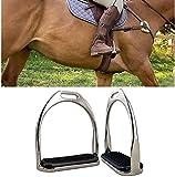 TYCX Pferd Sattelbügel Steigbügel Bügeleisen Edelstahl Reitstreben Durable Leichte Wege Equine Anti-Skid Pedal Super Reitausrüstung-Silber