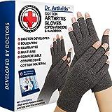 Dr. Arthritis - Arthrose Handschuhe Fingerlos inkl. Handbuch vom Arzt - Kompressionshandschuhe - (Paar) Fingerlose Handschuhe Damen & Herren - Ideal Bei Arthritis, Raynaud Syndrom & Co. - Grau (XL)