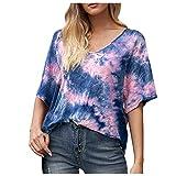 XUNN Damen Tops Mode Sexy Lässige Multicolor Print O-Ausschnitt Kurzarm Top Bluse T-Shirt Frauen Oberteil