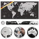 Pustalon Weltkarte Zum Rubbeln Deutsch - FSC®-Zertifiziert - Made in Germany - Edelstahl Rubbel-Chip, Rubbel Weltkarte Poster - Wandposter Design Edition, schöne Geschenk-Verpackung