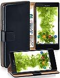 moex Klapphülle kompatibel mit Sony Xperia X Compact Hülle klappbar, Handyhülle mit Kartenfach, 360 Grad Flip Case, Vegan Leder Handytasche, Schwarz