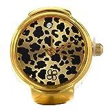 SODIAL(R) Rund Ringuhr Finger Uhr Fingeruhr Uhrenring Leopard Gold TOP