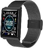 JSL Smartwatch, mit Herzfrequenzmesser, Schrittzähler, Schlafüberwachung, Kalorienzähler, Blutdruck, Black