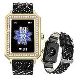 FMSBSC Smartwatch für Damen 1.65 Zoll HD Farbdisplay Fitnessuhr Smart Watch mit Frauengesundheit Bluetooth Telefonie, Fitness Tracker mit Pulsmesser Blutdruckmessung Schlaf SpO2 Monitor,Black a