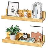 STOREMIC Wandregal Regale für die Wand 2er-Set, stabile Wandregal Bambus Längen 40cm, Dekorative Präsentationsregale für das Schlafzimmer, Wohnzimmer, Küche, Heimbüro usw