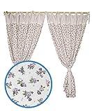 Provence Vorhänge aus Baumwolle, französischer Landhausstil, für Küche, Schlafzimmer, Wohnzimmer, 160 x 140 cm, 2 Vorhänge mit 2 Raffhaltern, Lila / Rose