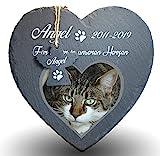 Individueller Personalisiert Herzform Tiergrabstein Schiefer Gedenkstein für Hund, Katze und andere Haustiere Tiere - Größe | 25 x 25 cm | - Herz und Eng