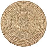 Jute Teppich rund 100cm Durchmesser, Naturfaser 15mm stark, Juteteppich Handmade vernäht