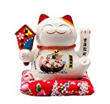 Maneki Neko Winkekatze Glückskatze Glücksbringer Winkende Katze aus Porzellan,Weiß L16xW14xH16cm, A
