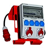 Baustromverteiler mit Ständer Stromverteiler Verteilerkasten franz/belg System TD-S/FI mit 32A 16A 4x230V Steckdosen 6191