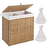 Greenstell Wäschekorb mit Deckel und 2 Wäschesacken, Synthetisches Rattan Wäschesammler geflochten mit Griffen, Wäschesortierer 2 Fächer für Badezimmer und Waschküche (Große Größe Beige)