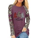 Valink Damen-Langarm-Sweatshirt, Leoparden-Print, Weihnachtsbaum-Druck, lässiges Oberteil, langärmelig, Colorblock-Oberteile