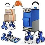 winkeep Einkaufstrolley, 2 in 1 Klappbar Einkaufswagen 75 Liter Kapazität Super Laden 50kg Arbeitsersparnis Treppensteigen mit Verstellbarem Spannseile, 3 Große Geräuschlose Räder