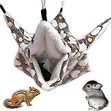 NALCY Kleintierkäfig-Hängematte, Kleine Tiere-Hängematte, 3-lagige Zucker-Hängematte, Hamsterkäfig-Zubehör, Gemütliches Kleintierbett für Chinchilla, Papagei, Zucker, Frettchen, Ratten, Hamster