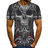 ZHRDRJB 3D T-Shirts,Mode Grau Schädel 3D Gedruckt Männer Sommer T Shirt Unisex Casual Short Sleeve O-Ausschnitt Persönlichkeit Männer Lose Tops Plus Größe Gothic Paar Kleidung, XL