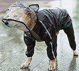 DHGTEP Hund Regenmäntel Wasserdicht Regentage Transparent Hund Full-Cover Regen Jacke Mantel Vier Beine Poncho Hoodies mit Reflektierenden Streifen (Color : Black, Size : 7XL)
