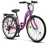 Licorne Bike Stella Premium City Bike in 26 Zoll - Fahrrad für Mädchen, Jungen, Herren und Damen - 21 Gang-Schaltung - Hollandfahrrad - Rosa