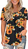 Maavoki Damen Boho Große Größen Bluse, Casual Plus Size Hemden Shirt Tunika Tops, Sommer Kurzarm Crew Neck Oberteile (Sunflower, M)